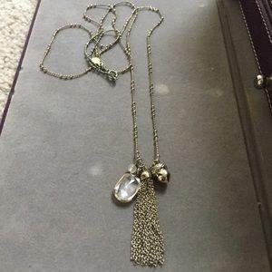 Ann Taylor LOFT gold acorn tassel necklace